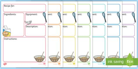 Esl Recipe Card Template by Recipe Template Education Home School Free Child