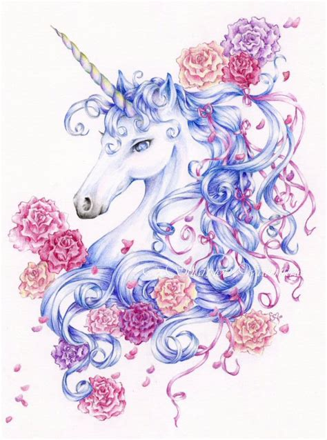 unicorn printable art 5x7 fantasy unicorn art print ribbons and by shannonvalentine