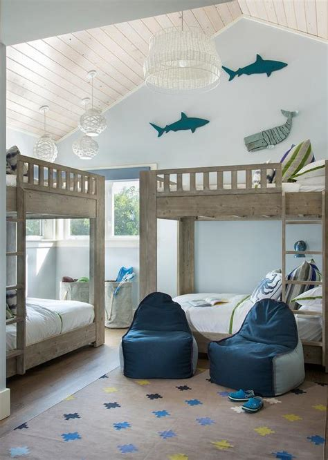 blue fish themed boys bedroom  gray wash bunk beds