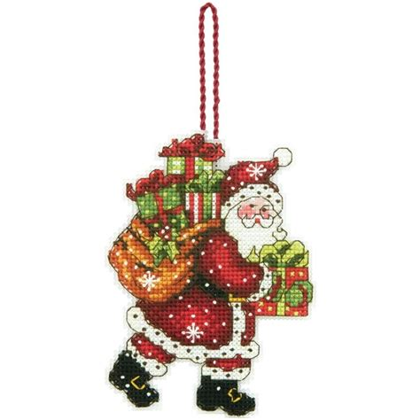 santa with bag christmas tree ornament counted cross