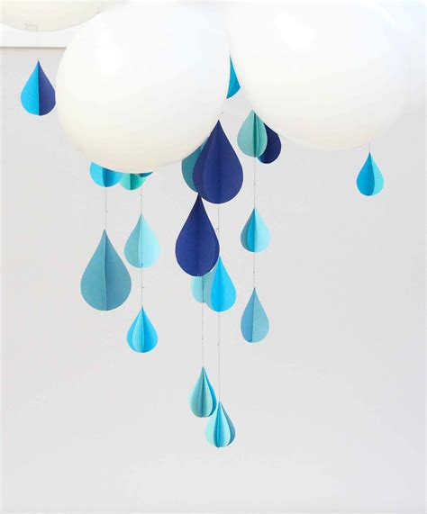 How To Make 3d Clouds Out Of Paper - paper raindrops