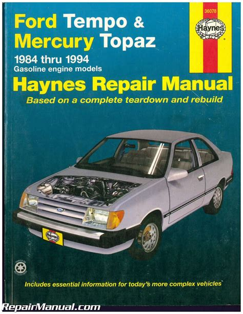 car maintenance manuals 1987 ford tempo instrument cluster used haynes ford tempo mercury topaz 1984 1994 auto repair manual