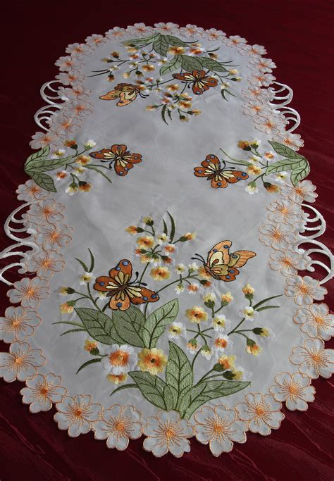 butterfly doily table runner tablecloth white orange