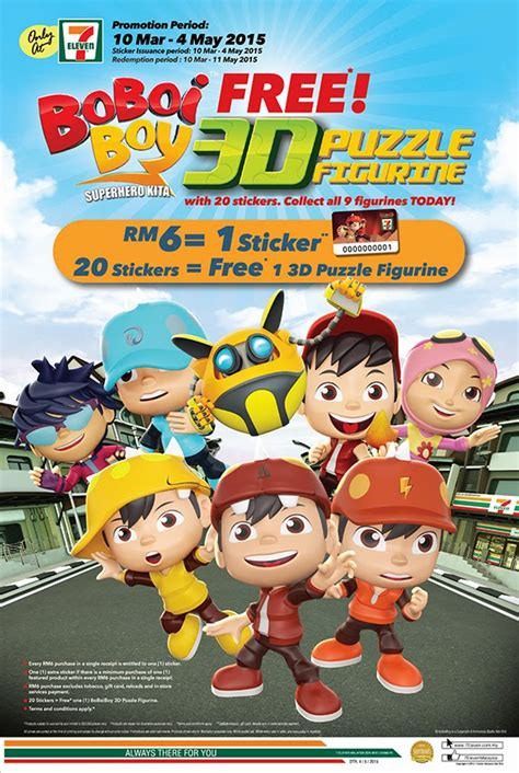 7 Eleven Malaysia Gift Card - 7 eleven malaysia s boboiboy 3d puzzle figurines collectible