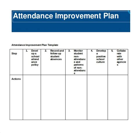 student improvement plan template 9 attendance planners sle templates