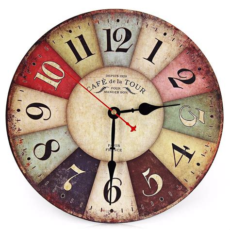 Jam Dinding Diy Angka Romawi 30 60 Cm jam dinding bulat style eropa 30cm colorful vintage multi color jakartanotebook