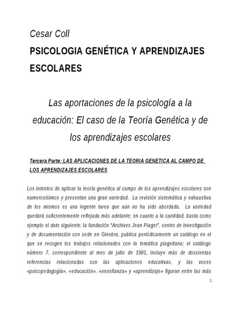 Psicología Genética y aprendizajes escolares (Coll