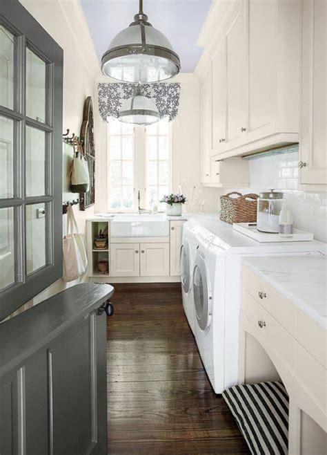 traditional laundry room with dog house