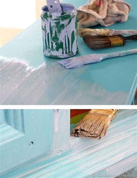 diy chalk paint glaze before and after furniture makeover in turquoise in my