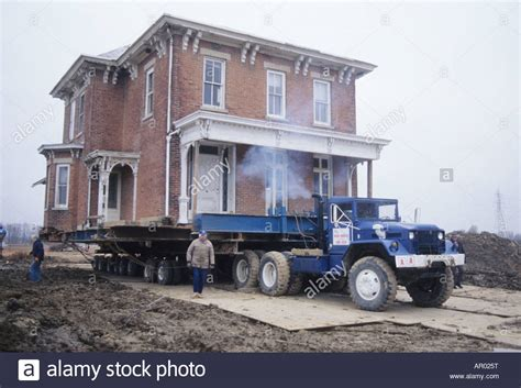 trailer house movers in oklahoma house on truck trailer ready for move ohio usa home moving historic stock photo