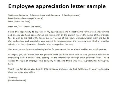 appreciation letter from client to employee employee appreciation letter sle just letter