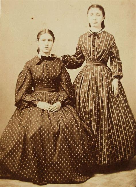 1860s costume accessories civil war era fashions vintage civil war era cdv photo 2 young women in hoop dresses