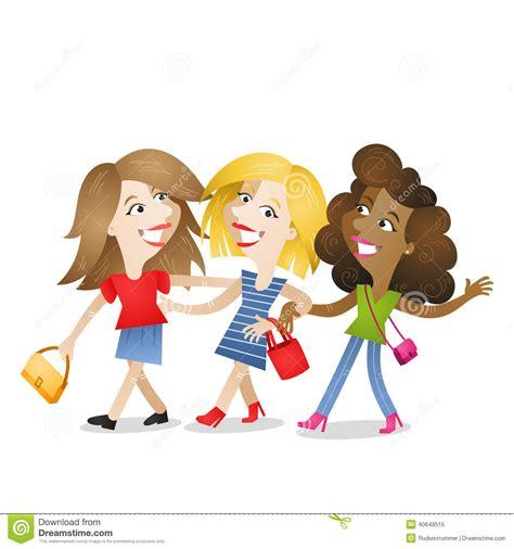 clipart amicizia amicizia attraente di camminata delle amiche illustrazione