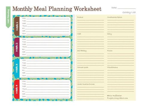 free printable meal planning worksheet michellan monthly meal budget and school planning