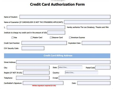 credit card html template credit card authorization form template word best