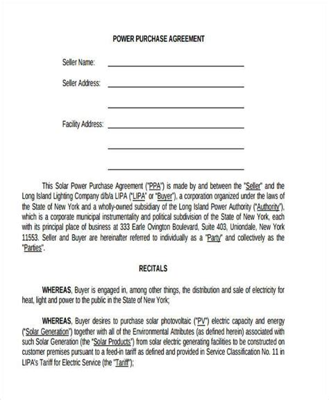 solar power purchase agreement template 7 power purchase agreement form sles free sle