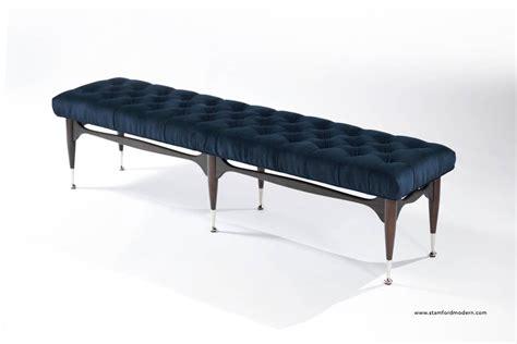 blue tufted bench midcentury sculptural tufted bench in navy blue velvet for