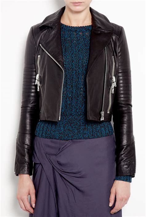 j brand leather j brand aiah leather jacket in black lyst