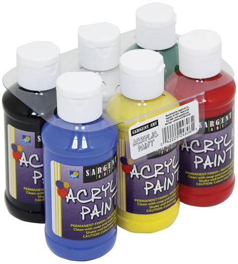 sargent primary acrylic paint set 4 ounce 6 pack