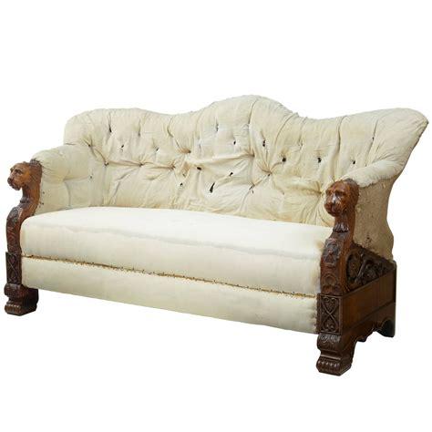 Carved Sofa by 19th Century Carved Walnut And Mahogany Buttonback