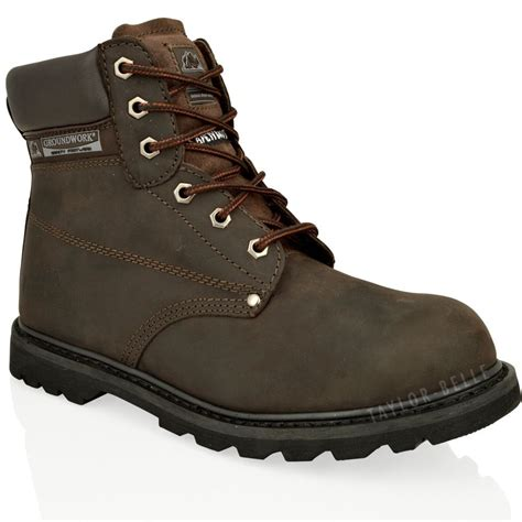 mens steel toe cap work boots mens steel toe cap work boots saftey leather lace up ankle