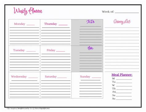 printable mom planner free weekly planner printable from mom simplicity