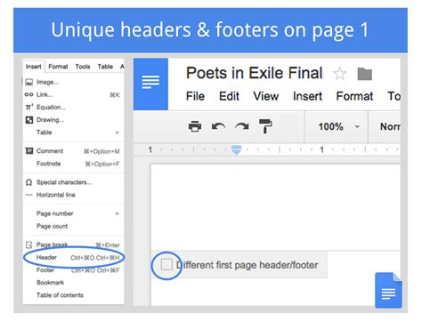 creating header and footer in pages using different headers and footer in the same google
