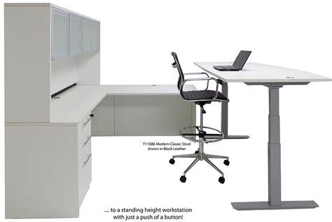 electric lift adjustable height white u desk w hutch