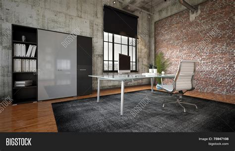 interior pictures for office wall industrial wall 3d rendering commercial office image photo bigstock