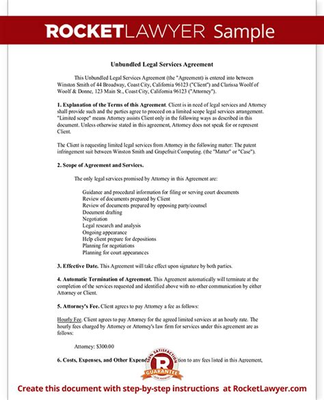 unbunded legal services agreement flat fee agreement
