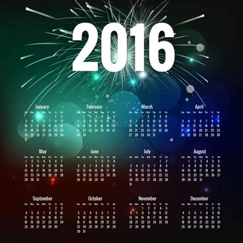Calendario Ist 2016 Bokeh 2016 Kalender Mit Feuerwerk Der