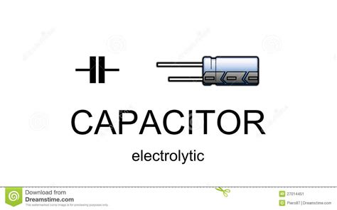 electrolytic capacitor negative symbol electrolytic capacitor icon and symbol stock illustration image 27014451
