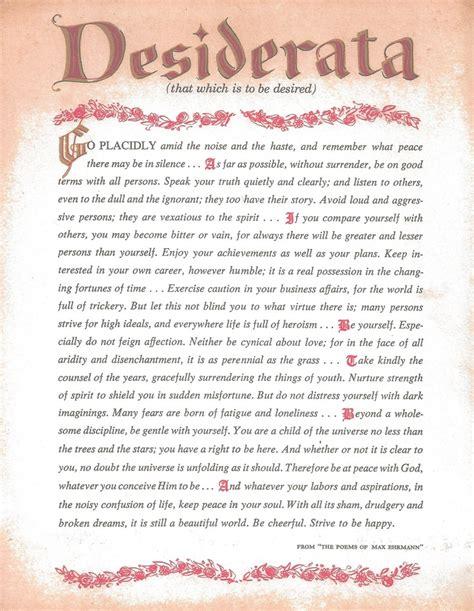 printable version desiderata desiderata printable copy of poem desiderata poem art