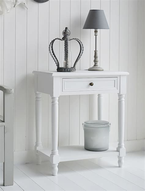 cove bay small white console table with drawer and shelf
