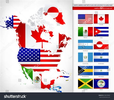 north america map with flags north america map with flags and location on world map
