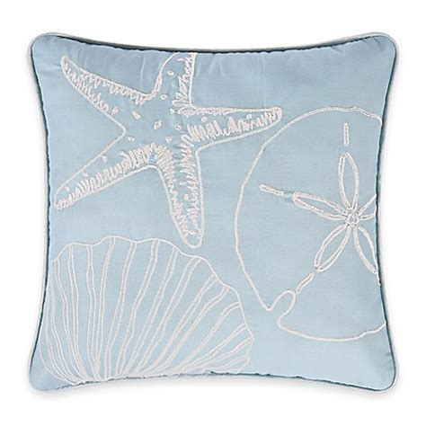 pacific coast pillows bed bath beyond natural shells square throw pillow in blue white bed