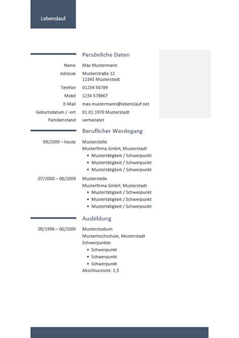 Muster Lebenslauf Kostenlos by Lebenslauf Vorlagen Professionell Modern Kostenlos