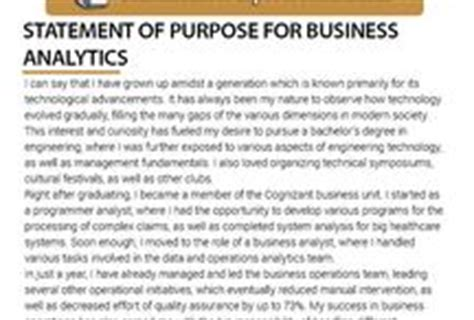 For Mba Business Analytics mba statement of purpose sles mstatement on