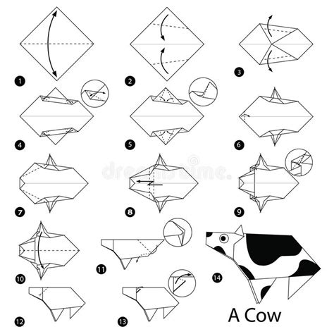 How To Make An Origami Cow - step by step how to make origami a cow stock
