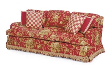 red floral sofa a three seat red and beige floral print cotton sofa