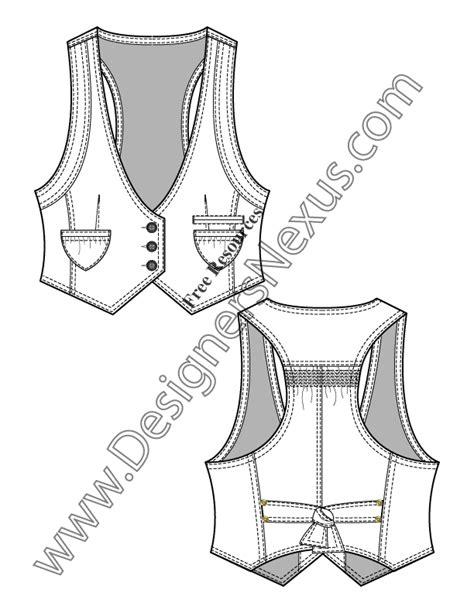 neck pattern sketch v neck vest with pointed hem v14 flat fashion sketch