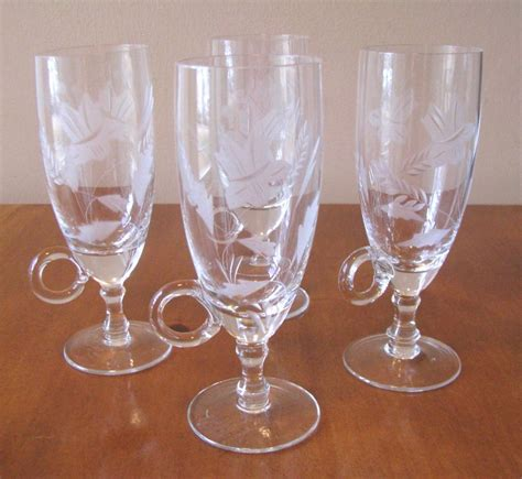 vintage chagne glasses vintage coffee glasses etched with handle