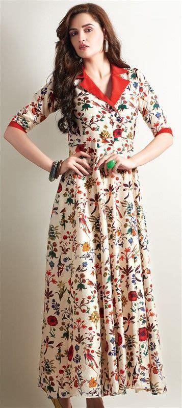 best 25 kurti designs long ideas on pinterest long beige brown crepe printed long kurtis beige floral