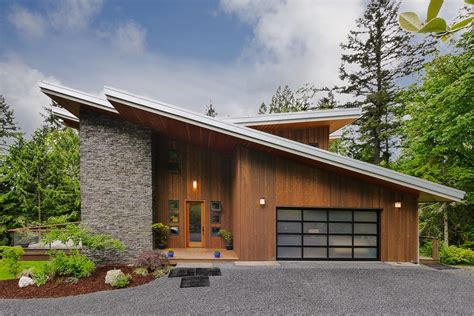 Bungalow Style Homes by Pitched Roof Exterior Contemporary With Wood Panel Front Doors