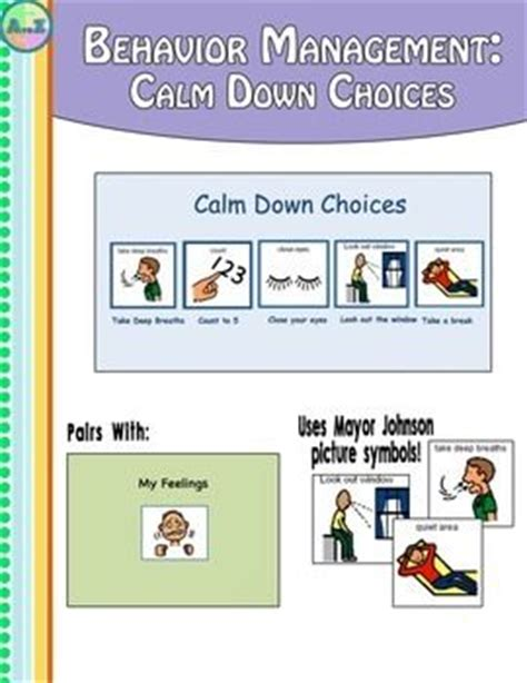 calm down choices behavior management calm down and social stories on pinterest