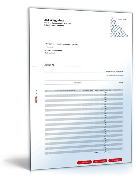 Kostenlos Musterbriefe Herunterladen Bestellformular Muster Zum