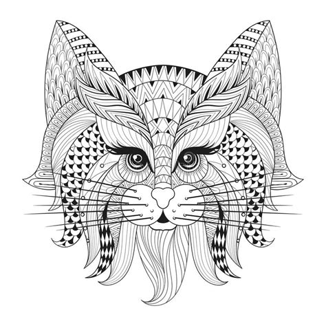 geometric cat coloring page zentangle hand drawn cat face for adult antistress