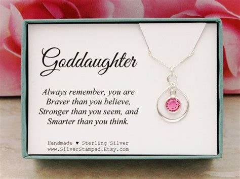 gift for goddaughter birthstone necklace sterling silver