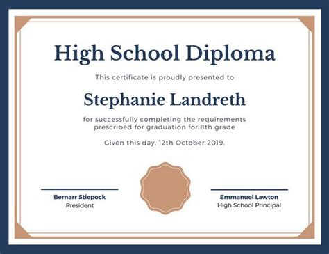 high school graduation certificate template blue and brown classic high school diploma templates by