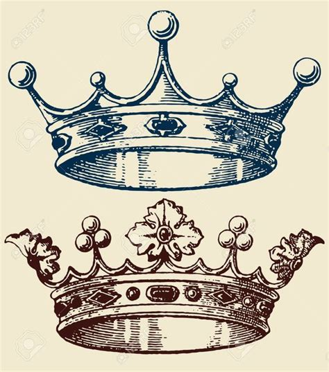 king queen tattoo drawings old crown set royalty free cliparts vectors and stock